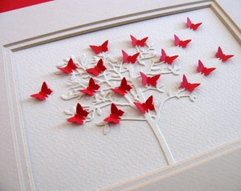 5X7 Creamy Ivory Tree with 3D Mini Butterflies Fluttering in Red as Shown or Your Color Choice / Family Tree, Ancestry / Made to Order