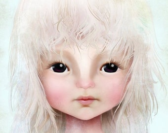50% Off SALE Fine Art Print - 'Darkheart' - Little Dark Eyed Girl with Blonde Hair - 8.5x11 or 8x10  Medium Sized Giclee Print Solocosmo