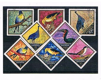 Exotic Birds Postage Stamp Selection | jewel tone vintage postal stamps for papercraft, card toppers, collage, decoupage or stamp collection