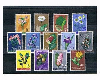 Retro Flower Stamps - Yugoslavia 1 | wild flower floral postage stamps - belladonna, camomile, lavender etc | papercraft collage collection