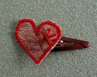Red heart clip hairclip * Valentine's day