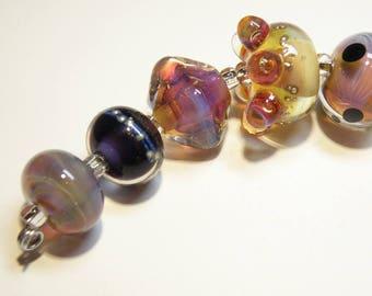 Coordinating Set of Seven (7) Lampwork Borosilicate Beads: Champagne, Pinks, Purples -- Lot 3N
