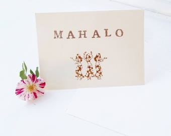 "Hula Girl Note Cards, Set of 4 Handstamped  Mahalo Thank You Cards, Hawaiian Ladies, 4"" X 5.5""  Ivory Blank Greeting Card and Envelopes"