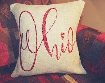 Ohio Burlap Pillow, Ohio State Pillow
