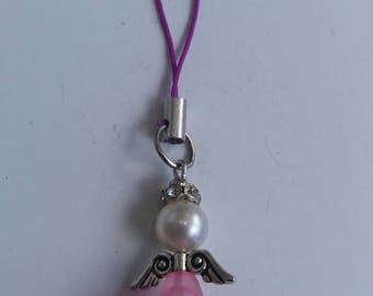 Pink guardian angel charm