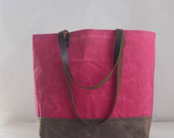 Peony Pink Waxed Canvas Tote Bag with Leather Straps - Ready to Ship