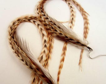 natural Long Feather Earrings super thick Ginger dangler