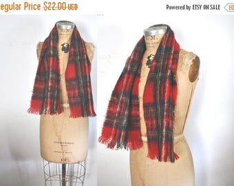 SALE Mohair Wool RED Plaid Scarf / made in Scotland