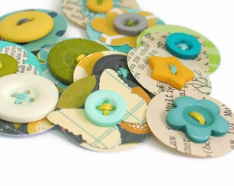 Blue Green Yellow Themed Handmade Paper Button Embellishment, Paper Dots for Scrapbook Junk Journal Daily Planner Embellishments - Set of 12