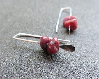 small ruby earrings. July birthstone jewelry. red gemstone jewellery. Canadian seller.