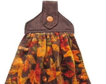 Autumn Hanging Kitchen Towel - Fall Leaves Kitchen Towel - Velour Button Top Kitchen Towel - Fabric Top Towel