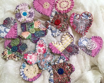 13 Primitive Appliques, Hand Cut from Old Quilt, Butterflies, Flowers, Hearts, Circles, Recycled Cotton Fabric Craft Supply