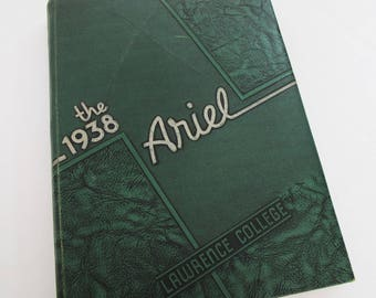 1938 Lawrence College Yearbook Year Book Appleton Ariel Green Textured Embossed Cover Art Decor Design Fonts 1930s Photos