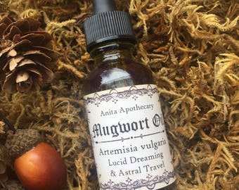 Mugwort~Witches Dream Oil-Lucid Dreaming and Astral Travel Flying Ointment, Mugwort Oil, mugwort, witchcraft, Wicca, Witch Oil, Moon