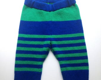 Diaper Cover Wool  -  Machine Knit  Medium-Large Green and Blue Striped Wool Capris