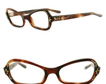 Amber Torti Rhinestone EyeGlasses, Vintage 1950s Eyeglasses, Deadstock Eyeglass Frames, Brown Tan Torti with Rhinestone Temples, NOS 50s