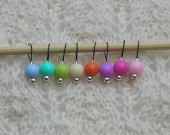 Special Order for Kelly - Knitting Stitch Markers - snag free - acrylic 6mm beads - set of 16 small loops