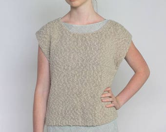 the outdoorswoman -- simple vintage 80's knubby knit textural sweater top S/M/L