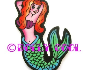 Mermaid Pinup Brooch by Dolly Cool Tattoo Style