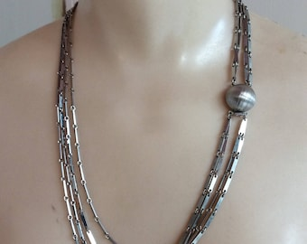 Vintage shiny silvertone 4 strand chain necklace, industrial metal silvery 4 chains necklace, polished textured silvertone chain necklace