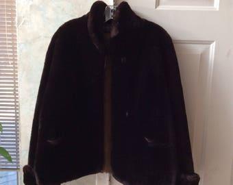 Vintage dark coppery wine brown mouton fur short jacket, sz S or M rich brown retro fur jacket, mint deep brown mouton fur jacket