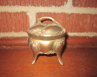 Antique Edwardian Art Nouveau Metal Footed Jewelry Casket Ring Box