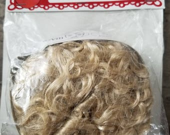 "Doll Hair Wig Large Blonde Curly fits 11-1/2"" head Fibrecraft brand"