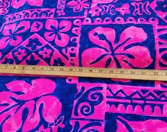 Cotton Bright Pink Blue Hawaiian Tropical Print aprox 2-1/4yd