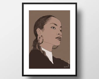 Sade Print A4 // music lover gift, I love the 80s, female portrait drawing, living room decor, wall art print, Sade poster, gift for her