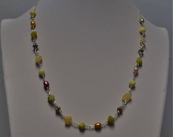 Mixed Gemstones and Freshwater Pearl Sterling Silver Necklace