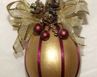 Christmas Gourd Ornament, Victorian Style Gold and Burgundy, Pine cones, Wired Ribbon