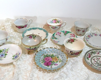 Teacups And Saucers, Mismatched Teacups And Saucers, Instant Collection of Six Sets