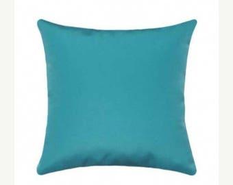 Sunbrella Throw Pillow, Aqua Outdoor Pillow, Sunbrella Canvas Turquoise Outdoor Pillow, Solid Aruba Deck Pillow, Aruba Blue Cushion