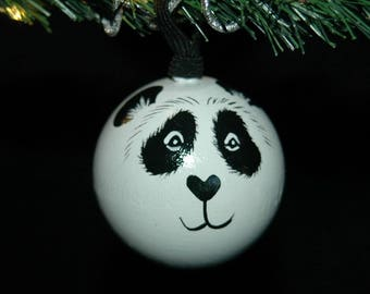 Panda Ornament - Hand Painted - Personalized - Solid Wood
