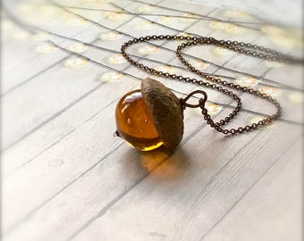 Glass Acorn Necklace - Streaky Topaz - by Bullseyebeads