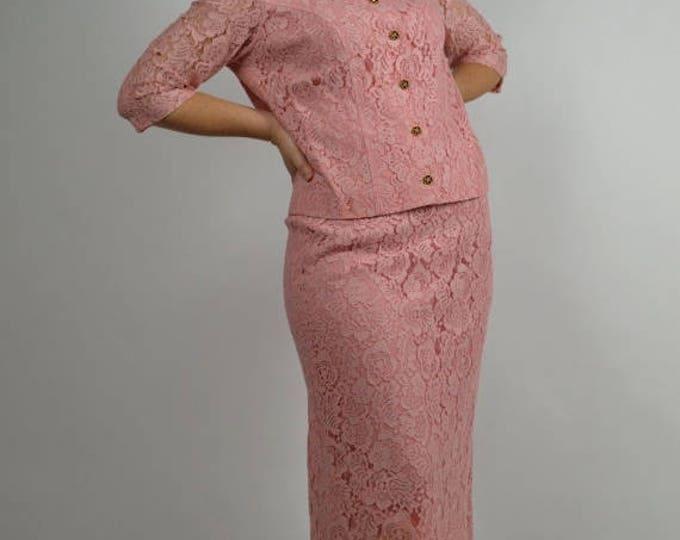 sale Pink Suit, Lace Suit, Vintage Suit, Women's Suit, Pencil Skirt Suit, Wiggle Dress, Mother of the Bride, Size Large,
