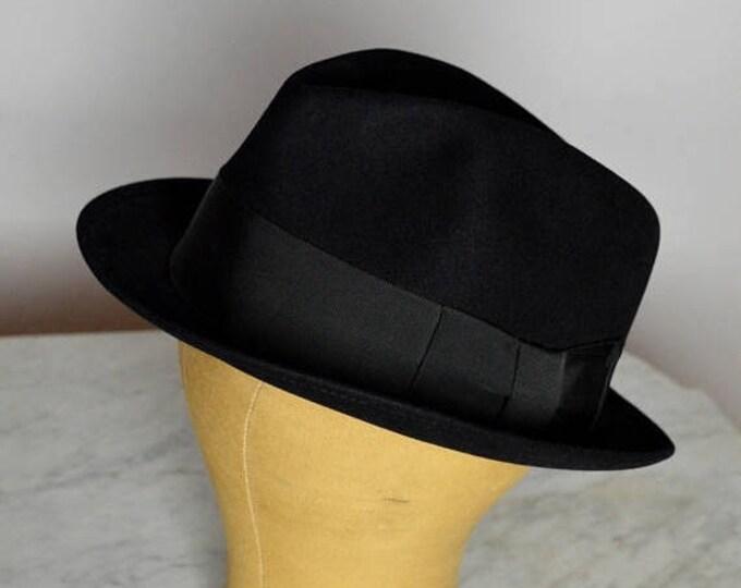 sale Lee Hat, Black Mens Fedora, Beaver Fur, 40s Fedora, 50s Fedora Hat, Millinery Hat,Blues Brothers, Mens Hats,Gangster Hat, Vintage Fedor