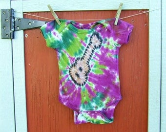 12m Tie Dye Baby Onesie - Acoustic Guitar - Ready to Ship