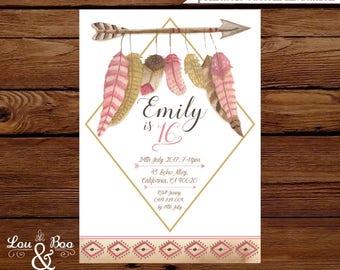 Printable Boho chic invite, feathers, tribal , bow and arrow, boho birthday party invitation, teen birthday, baby shower invitation