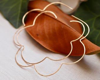 Gold Peony Hoop Earrings, Flower Shape Extra Large Hoop Earrings with Barrel Backing, Les Bijoux de Siany
