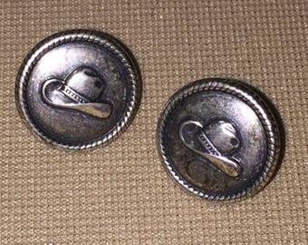 Vintage Western Cowboy Hat Pierced Earrings