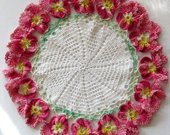 Pink Pansies Hand Crocheted Doily
