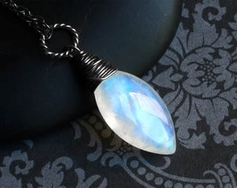 """Moonstone Necklace, Rainbow Moonstone, Oxidized Sterling Silver - """"Moonspear"""" by CircesHouse on Etsy"""