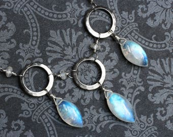 """Moonstone Necklace, Rainbow Moonstone on Sterling Silver - """"Three Moons"""" by CircesHouse on Etsy"""
