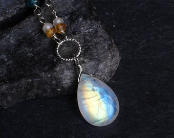 Moonstone Necklace - Rainbow Moonstone Necklace - Moonstone Jewelry - Sterling Silver Necklace - Citrine - London Blue Topaz June Birthstone