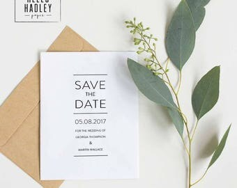 Printable wedding save the date card - Thompson collection