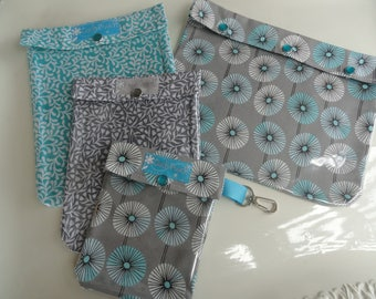 Gray & Aqua Floral Set of 4 Sizes Clear Pocket Organizer Totes Cosmetics First Aid Diaper Bag College Dorm First Day of School