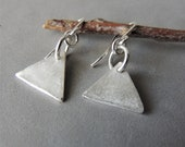 Sterling Silver Earrings, Triangle Earrings, Geometric Jewelry, Silver Triangles, Petite Earrings, Artisan Jewelry, Rustic Handcrafted