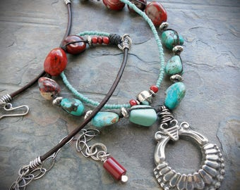 Squash Blossom Pewter Southwest Necklace with Turquoise and Red Jasper