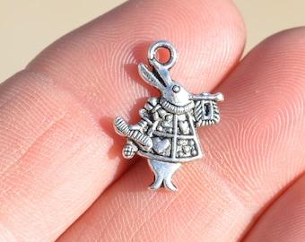 1  Silver Alice in Wonderland Rabbit 20mm Charm SC1721